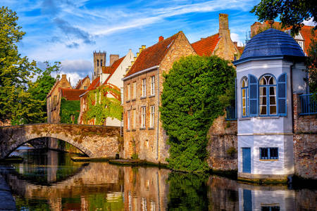 Ancient houses along the canal in Bruges