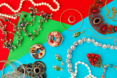 Jewelry on colorful background