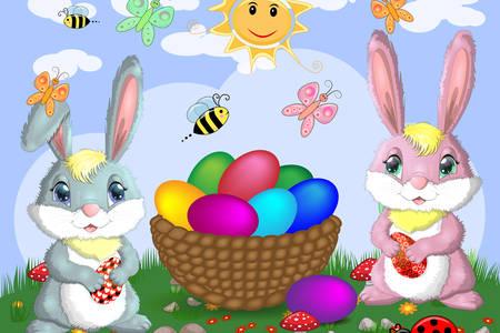 Húsvéti nyuszik a kosár közelében