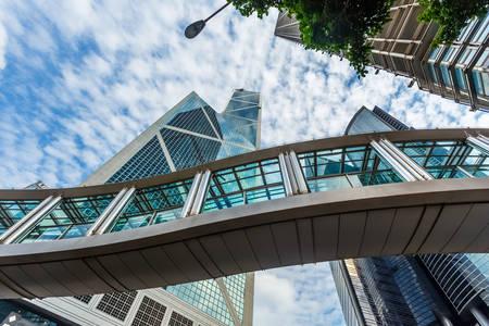 Glass bridge and skyscrapers of Hong Kong