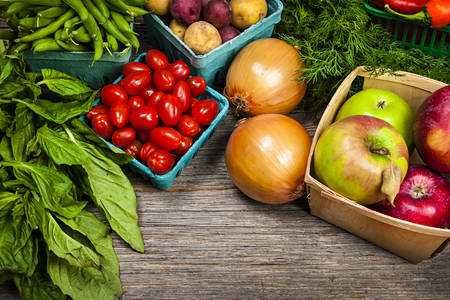 Assorted fruits, vegetables and herbs