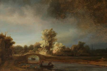 "Rembrandt Harmenszoon Van Rijn: ""Landscape with a Stone Bridge"""