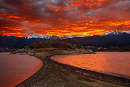 Sunset over Lake Plastira