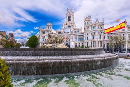 Cibeles fountain in Madrid square
