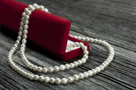 Pearl necklace on a velvet box