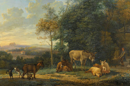 "Karel Dujardin: ""Landscape with Two Donkeys, Goats and Pigs"""