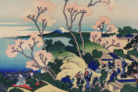 """Katsushika Hokusai: """"Goten Yama Hill, Shinagawa sul Tokaido"""""""