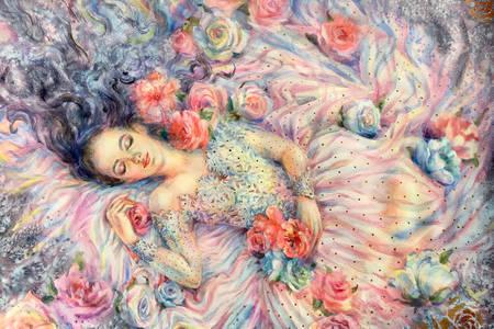 Śpiąca dziewczyna w kwiatach