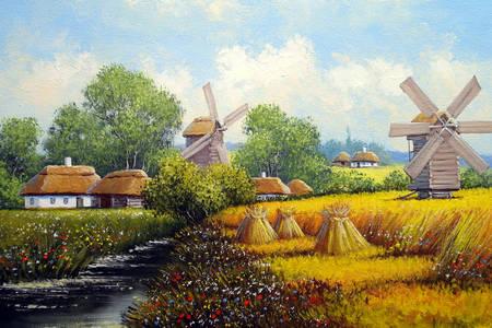 Villaggio ucraino con mulini