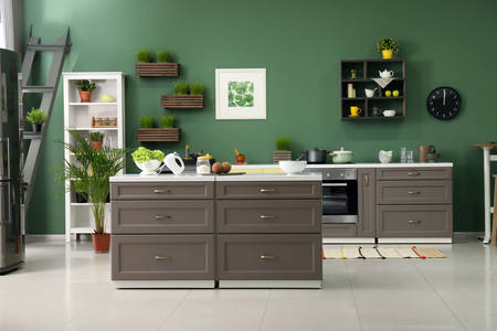 Kitchen in gray-green tones