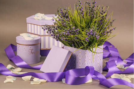 Lavender bouquet and gift boxes
