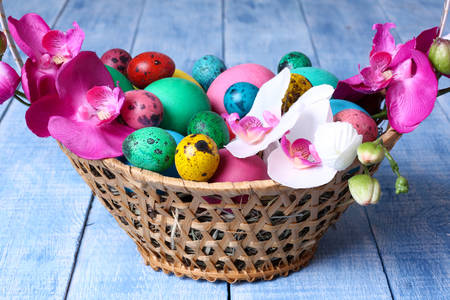 Easter eggs and orchids