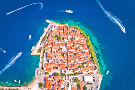 Aerial view of the town of Korcula