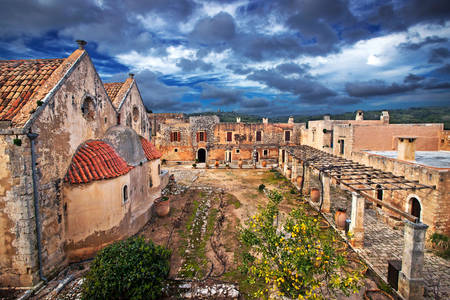 Arkadi monastery on a cloudy day