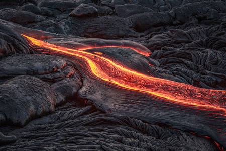 Red lava flow