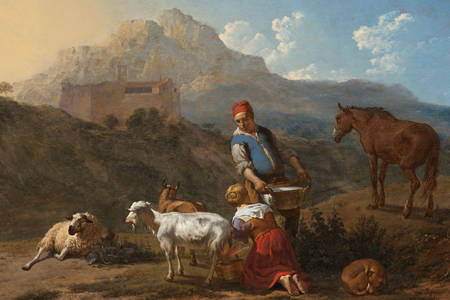"Karel Dujardin: ""Italian Landscape with Girl Milking a Goat"""