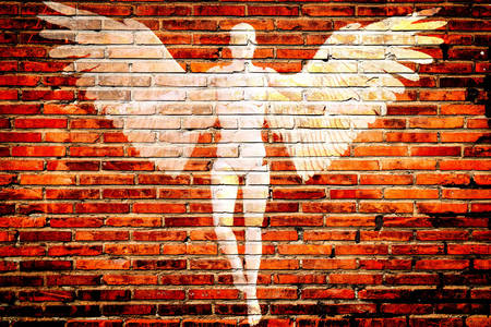 Drawing of an angel on the wall
