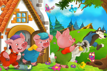 "Drawing for the fairy tale ""Three Little Pigs"""