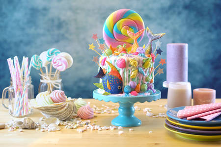 Birthday cake and sweets