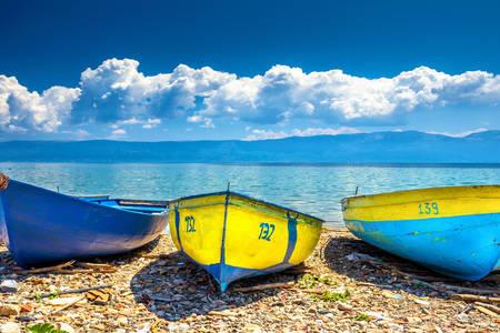 Boats on the beach of Lake Ohrid