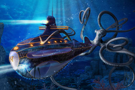 A giant octopus attacks a submarine