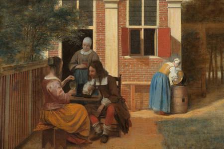 Pieter de Hooch: Gezelschap op een binnenplaats achter een huis