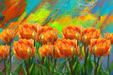 Abstrakcja z tulipanami