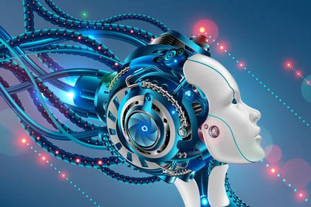 Bir dişi cyborg'un yüzünün profili