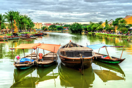 Traditional wooden boats of Vietnam