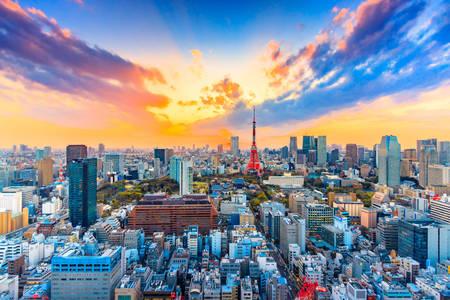 Tóquio ao pôr do sol