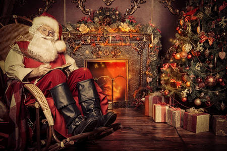 Santa Claus resting by the fireplace