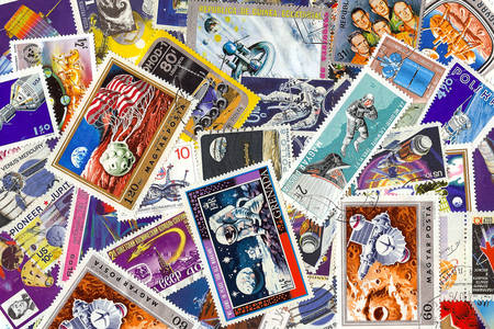 Collezione di francobolli spaziali vintage