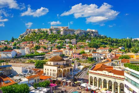 Blick auf die Akropolis von Plaka