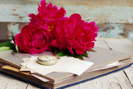 Peonies on an old album