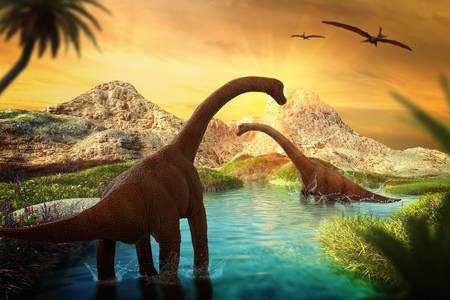 Brachiosaurus in water