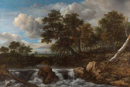 "Jacob van Ruisdael: ""Paysage avec une cascade"""