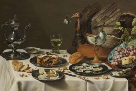 """Pieter Claesz: """"Zátišie s morčacím koláčom"""""""