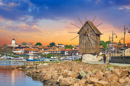 Wooden mill in the old town of Nessebar