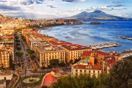 View of Naples and Mount Vesuvius