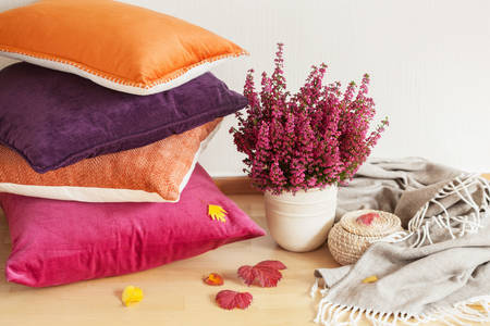 Colorful pillows and a flowerpot with lavender