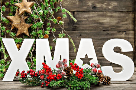 Christmas tree composition and decorative letters