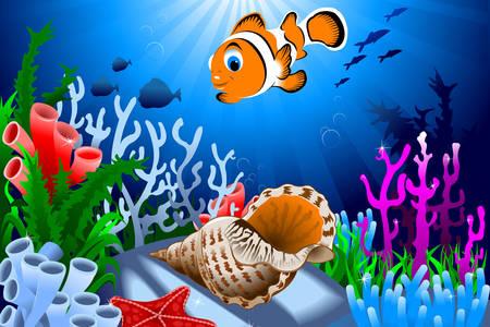 Peixe-palhaço entre corais
