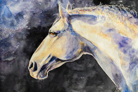 Painting with a white horse