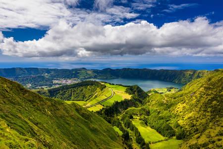 Mountains and Lake Santiago