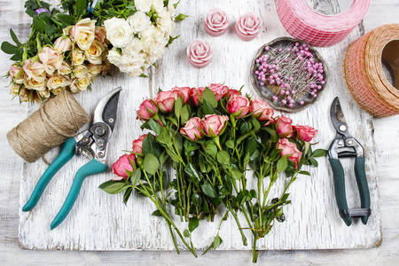 Flowers and florist tools