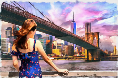 Ragazza al ponte di Brooklyn