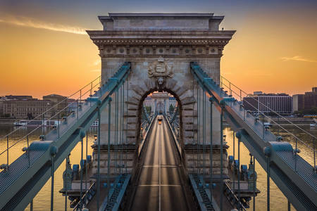 Chain bridge at dawn
