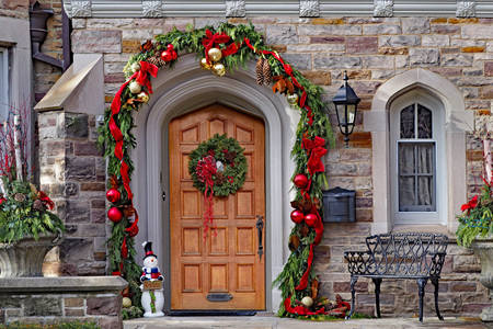 Doors with Christmas decor
