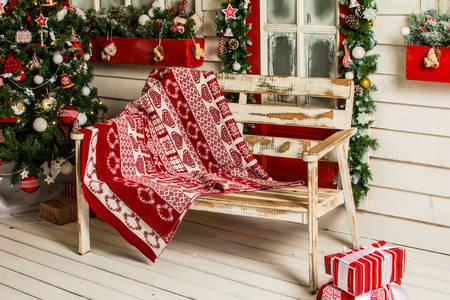 Bench, plaid and Christmas tree