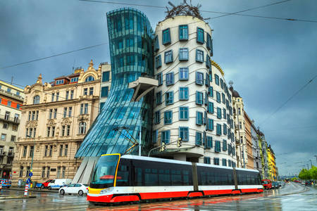 Modern tram on the streets of Prague